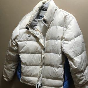 Columbia large adult white puffy coat, guc